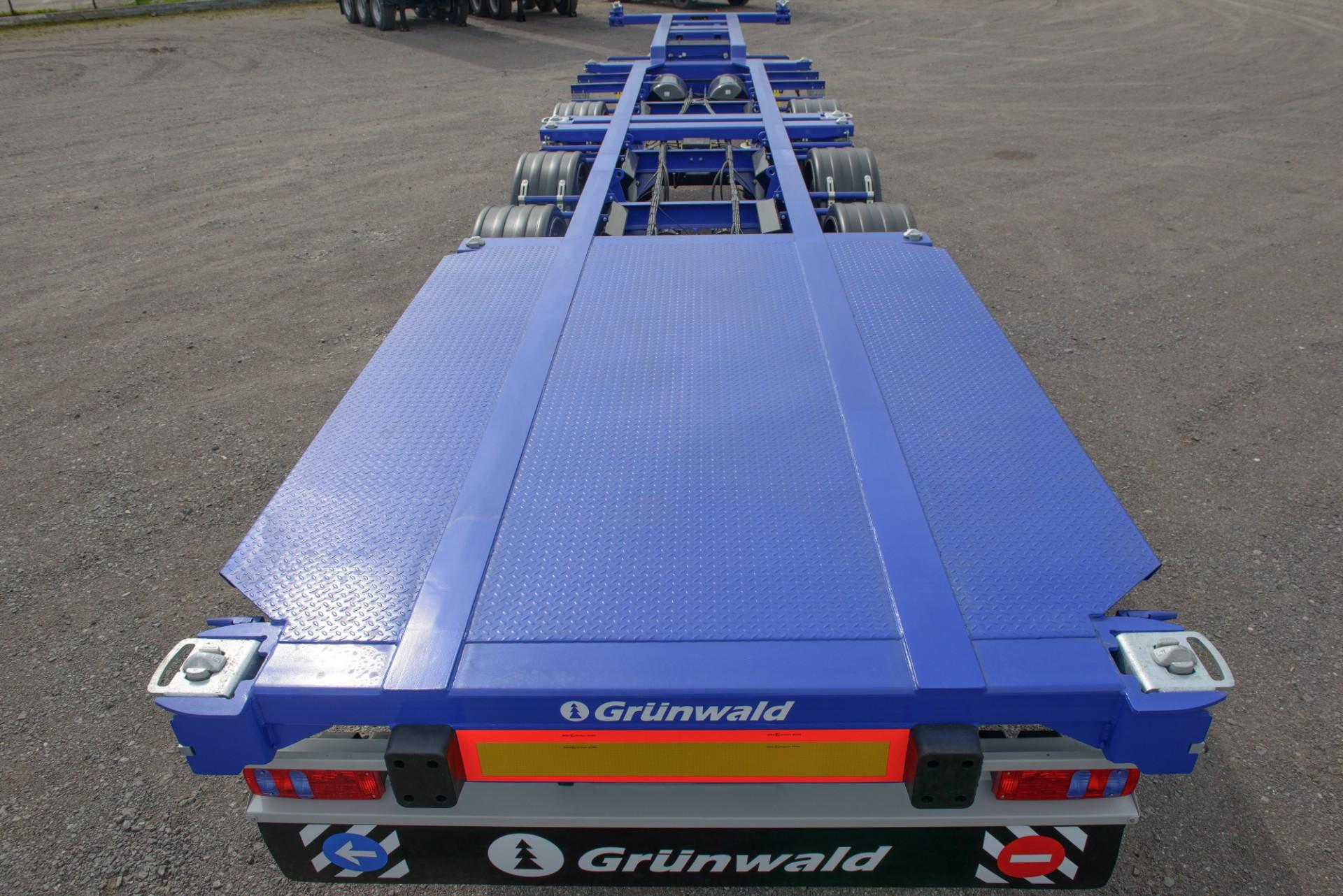 Низкорамный полуприцеп-контейнеровоз с разнесенными осями